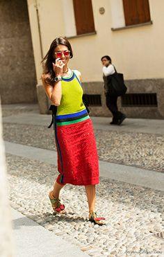 Viviana Volpicella, color block dress, sandals / Garance Doré