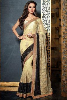 Lush Cream & Black Embroidered Saree