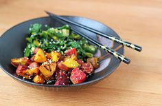Sesame Roasted Beets and Greens by fortheloveoffood