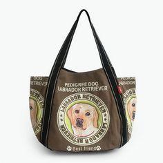 Apparel, Shoes & Jewelry||Accessories||Handbags||Totes - ILEA - [Pedigree Dog] 100% Cotton Eco Canvas Shoulder Tote Bag / Shopper Bag / Multiple Pockets Ladies Clothing