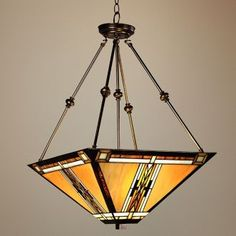 Walnut Mission Style Pendant Chandelier Lamps Plus Craftsman Style Interiors, Craftsman Furniture, Room Lights, Ceiling Lights, Art Nouveau, Craftsman Lighting, Mission Style Furniture, Stained Glass Lamps, Pendant Chandelier