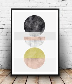 Abstract watercolor geometric print geometric wall by Wallzilla