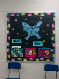 Recorder Hero bulletin board for the music classroom