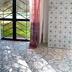 Lace stencil on a concrete floor | Skylar's Lace Floral Damask Stencil | http://www.royaldesignstudio.com/