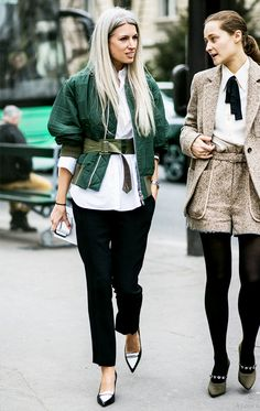 Belted green jacket + white button up + trousers