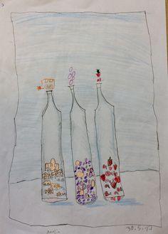 Amelia - Flaschen gedoodelt - Blei- + Farbstifte