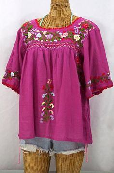 Mexican Peasant Blouse Top Hand Embroidered: La Marina Fuchsia #Glimpse_by_TheFind