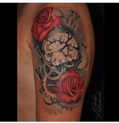 Rose clock broken tattoo