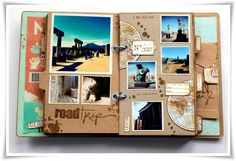 Road book - scrap o phile. Album Photo Voyage, Diy Album Photo, Diy Photo, Album Photo Scrapbooking, Scrapbook Albums, Friend Scrapbook, Scrapbook Journal, Travel Scrapbook, Travel Journal Pages
