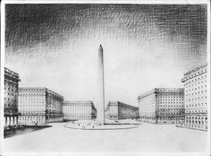 Alberto Prebisch Anteproyecto o boceto preliminar del obelisco, 1936 Lápiz sobre papel, 34 x 46 cm Col. Arquitecto Horacio Prebisch