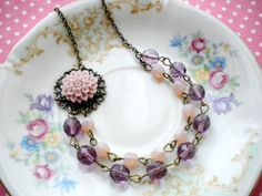 Flower Necklace Bridesmaid Necklace Two Strand Purple Statement Necklace Flower Beadwork Jewelry