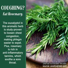 Coughing? Eat Rosemary. The eucalyptol in this aromatic herb is study-proven to loosen chest congestion, making phlegm easier to expel. Plus, rosemary is rich in anti-inflammatory tannins, which soothe a sore throat.