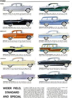 Remarkably Retro - life-magazine-scrapbook: Cars of American. Ford Pickup Trucks, Car Ford, Ford Convertible, Detroit History, Mercury Cars, American Motors, Ford Fairlane, Best Classic Cars, Car Advertising