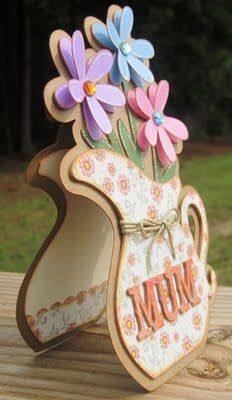 """Mother's Day card  RECIPE: """"Country Life""""cartridge: all cuts - DCWV Rustic Stack - Ranger Distress Ink: Tea Dye - Recollection Gems - Hemp - White Gelly Roll Pen"""