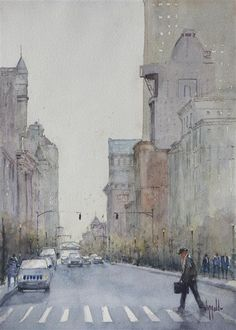 """""""View Down Main Street"""" watercolor by Judy Mudd for sale on UGallery.com 20% off sale until Dec. 16th"""