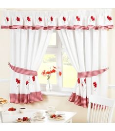 Poppies pencil pleat kitchen curtains with tiebacks - matching seat pads and pelmet available