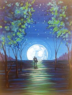 I am going to paint Moonlit Stroll at Pinot's Palette - Miamisburg to discover my inner artist!