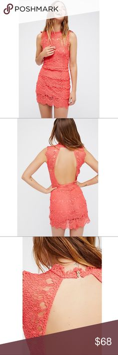 "Intimately Free People Daydream Bodycon Slip Dress Intimately Free People Daydream Bodycon Slip Minidress Coral size Large.    Style No. 35092253 ; Color Code: 237  Bodycon lace slip with a high neck and scalloped trim. Frayed cap sleeves and an open cutout in back. Lining features a sweetheart neckline.  Care: Hand Wash Cold Fabric Content: 44% Nylon, 56% Cotton. Lining is 100% Rayon.   Approximate Measurements: Shoulder to hem- 36"" Underarm to underarm- 17""  Size- L Color- Coral Condition…"