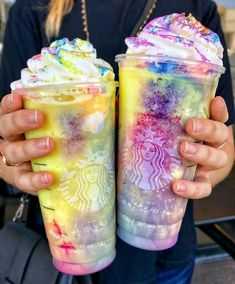 Would we be jerks if we ordered the Tie-Dye Frappuccino at Asking for a friend. Not sponsored, just curious how it would taste. Comida Do Starbucks, Bebidas Do Starbucks, Healthy Starbucks, Starbucks Food, Unicorn Drink Starbucks, Starbucks Order, Starbucks Frappuccino, Rainbow Drinks, Colorful Drinks