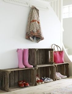 crates turned mudroom rainboot storage