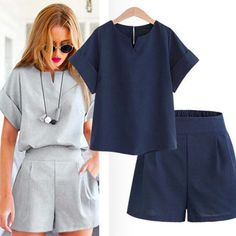 2020 Women Summer Style Casual Cotton Linen Top Shirt Feminine Pure Color Female Office Suit Set Women's Costumes Hot Short Sets Mode Outfits, Casual Outfits, Dress Casual, Suits For Women, Clothes For Women, Casual Tops For Women, Ladies Tops, Short Suit, Blouse Outfit