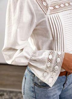 Blouses, Romantic, Long Sleeve, Sleeves, Tops, Women, Fashion, White Blouses, Full Sleeves