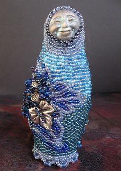 ...'Blue Babushka'..  Bead embroidery, poly clay