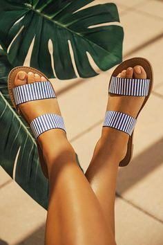 The Haven Stripe Sandal In Blue shoes cute sandals The Haven Stripe Sandal In Blue Zapatos Shoes, Shoes Flats Sandals, Sandals Outfit, Cute Sandals, Shoe Boots, Cute Shoes Flats, Striped Sandals, Beach Shoes, Beach Sandals