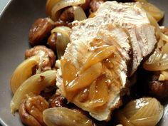 rôti de veau, marrons, échalote, oignon, vin blanc, bouillon, huile d'olive