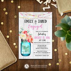 Printable Engagement party Invitation Rustic Mason by AmeliyCom https://www.etsy.com/listing/279854384/printable-engagement-party-invitation