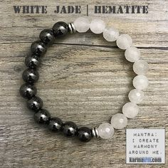 White Jade is a calming, grounding stone that also protects the wearer from negative energies. It brings peace, harmony and luck. White Jade is also wonderful in the decision-making process, as it blocks distractions, allowing for the best results to reveal themselves......mens yoga mala bracelet womens chakra meditation beaded charm stacks. White Jade | Hematite.