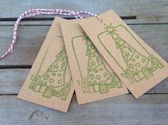 Rustic gift tags Kraft brown jar tag Christmas tree and presents green ink hand stamped