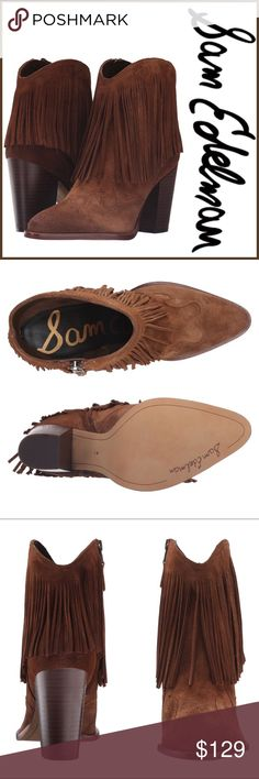 """NWT Sam Edelman Benji Booties ➖NWT ➖BRAND: Sam Edelman  ➖SIZE: 8 ➖STYLE: Benji Fringe Bootie in Woodland Brown: Dramatic fringe and curved appliqués at the heel and toe amplify the rustic Western style of a stacked-heel bootie in lightly distressed suede. Has a side zip closure ➖ 3 1/2  ➖ 5"""" boot shaft.  ❌ NO TRADE   Entropycat Sam Edelman Shoes Ankle Boots & Booties"""
