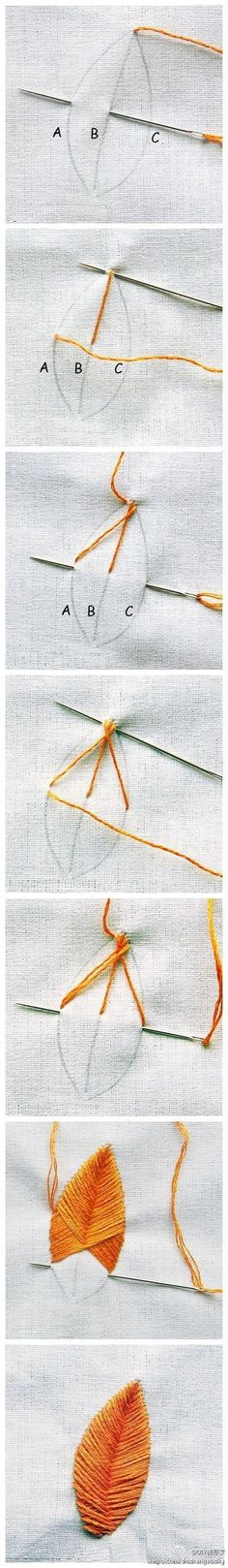 Leaf embroidery stitch