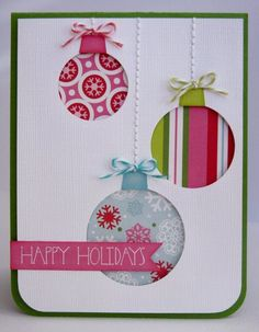 Christmas Card Christmas ornament cut outs! It is so pretty! - Sarah @ Life Love & Thyme - - Christmas Card Christmas ornament cut outs! It is so pretty! Christmas Card Christmas ornament cut outs! It is so pretty! Homemade Christmas Cards, Christmas Cards To Make, Homemade Cards, Holiday Cards, Christmas Wrapping, Recycled Christmas Cards, Tarjetas Diy, Christmas Crafts, Christmas Ornaments