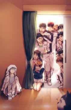 Tetsuya Kuroko, Shintaro Midorima, Junpei Hyuga, Teppei Kiyoshi, Shun Izuki, Rinnosuke Mitobe, Shinji Koganei and Riko Aida