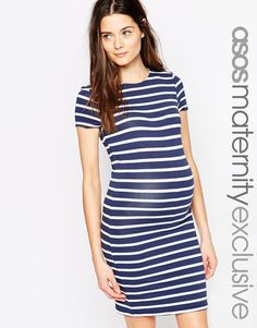 Image 1 of ASOS Maternity Body-Conscious Dress In Stripe
