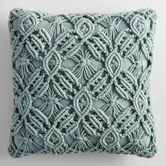 Jadeite Macrame Indoor Outdoor Patio Throw Pillow by World Market