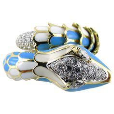 Enamel Diamond Gold Flexible Coil Snake Ring by Jona | From a unique collection of vintage fashion rings at https://www.1stdibs.com/jewelry/rings/fashion-rings/