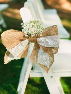 Burlap and lace bow rustic wedding aisle decor - for backyard wedding Wedding Events, Wedding Ceremony, Our Wedding, Wedding Ideas, Wedding Girl, Wedding Rustic, Dream Wedding, Fall Wedding, Trendy Wedding