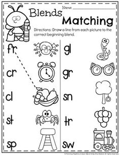 Beginning Blends Worksheets for Kids - Blends and Digraphs Unit Phonics Reading, Teaching Phonics, Phonics Worksheets, Phonics Activities, Kindergarten Worksheets, Teaching Kids, Consonant Blends Worksheets, Comprehension Worksheets, Learning Activities
