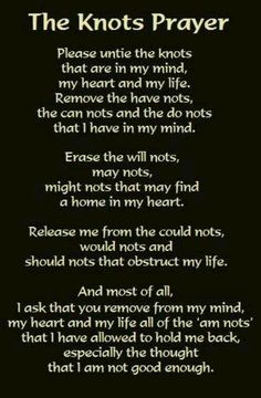 """The Knots prayer on my """"I Am Enough"""" blog post."""