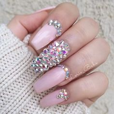Swarovski crystals with baby pink coffin nails⚰💅🏽 Swarovski Nails, Crystal Nails, Rhinestone Nails, Bling Nails, Pink Bling, Swarovski Crystals, Stylish Nails, Trendy Nails, Love Nails