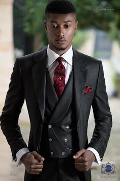 Black Italian suit with red pinstripe