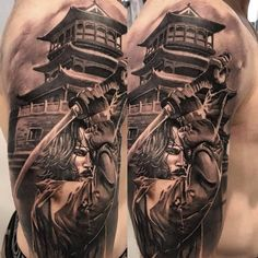Samurai tattoos are very common among the Japanese people, and they have only recently become more common in other cultures. Japanese Tattoo Samurai, Japanese Forearm Tattoo, Japanese Temple Tattoo, Samurai Tattoo Sleeve, Samurai Warrior Tattoo, Japanese Back Tattoo, Japanese Tattoo Symbols, Warrior Tattoos, Japanese Tattoo Designs