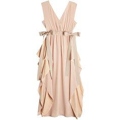Fendi Silk Crepe Dress (€2.484) ❤ liked on Polyvore featuring dresses, pink, nude dress, flounce dress, bow dress, silk crepe dress and pink ruffle dress