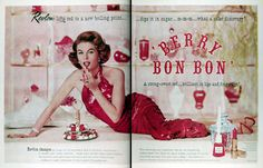 This is is from 1960 with Revlon Berry Bon Bon Lipstick. Old Revlon magazine ads (esp. the lipstick ones) was my first intro to vintage beauty ads.