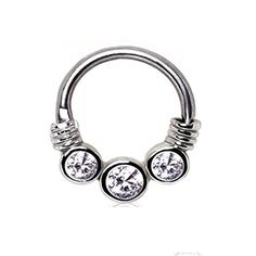 1 - Three Clear Gemmed CZ Princess Septum Clicker 316L Surgical Stainless Steel Rings F69 by Blue Palm Jewelry - Septum -- Awesome products selected by Anna Churchill