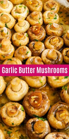 Garlic Butter Mushrooms - easy sauteed mushrooms with garlic and butter. This side dish takes only 15 mins to make and goes well with everything!
