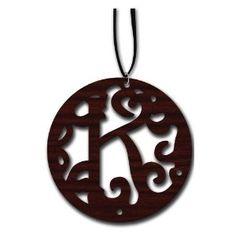 Laser Cut Wood Monogram Necklaces $15 on Amazon